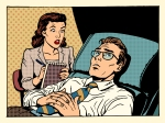 psychologist female patient male sympathy family relationships emotions mental problems pop art retro style